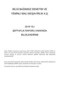 2019 Yılı Şeffaflık Raporu